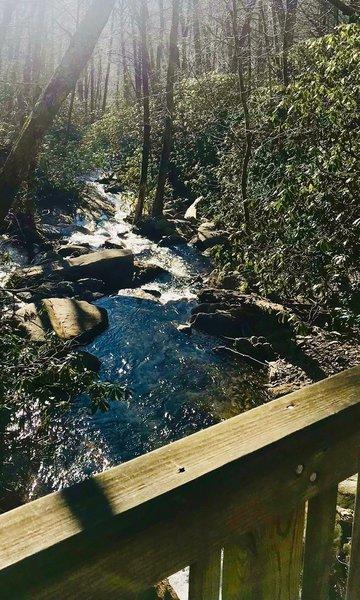 Bridge over Flat Creek at the Graybeard Trailhead