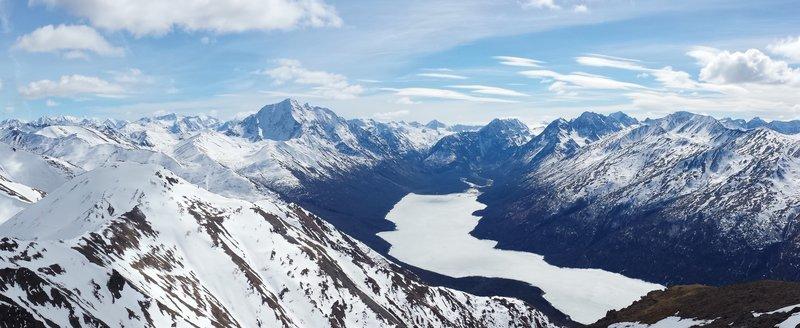 View from the Pepper Peak summit looking southeast toward Eklutna Lake and Bold Peak