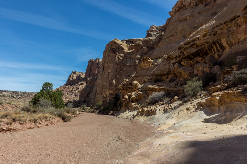 As you exit the San Rafael Reef, Bell Canyon hugs the sandstone domes