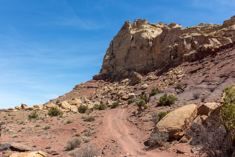 The Behind-the-Reef Road follows the edge of the Crack Canyon Wilderness Study Area
