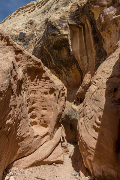 Squeezing through the Kayenta Sandstone in Little Wild Horse Canyon
