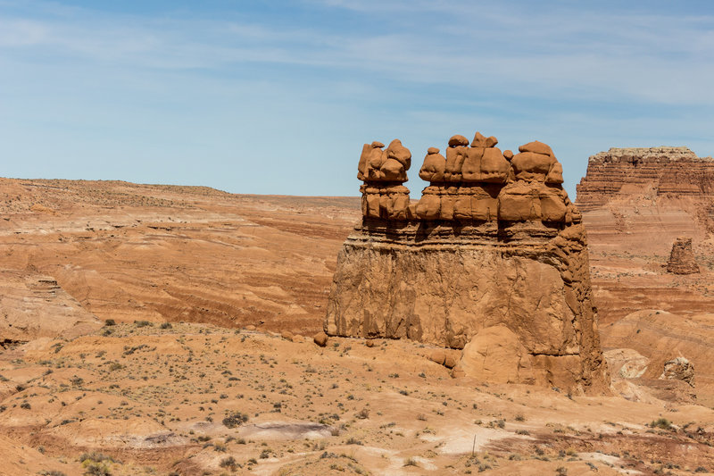 A rock formation similar to The Three Sisters further west in Goblin Valley State Park