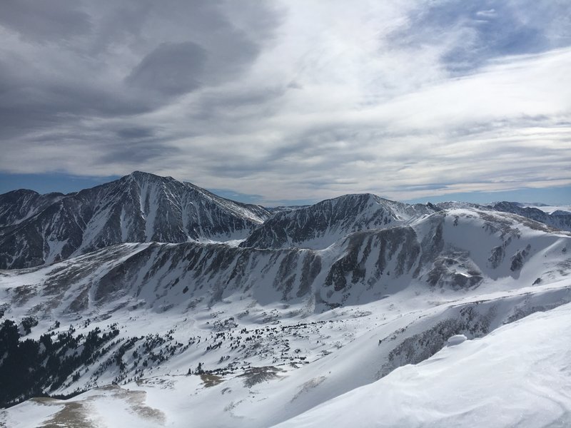 View from the summit of Mt Sniktau looking out at Grays and Torreys.