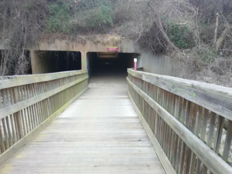 Foot bridge heading to tunnel under Hammond Road.