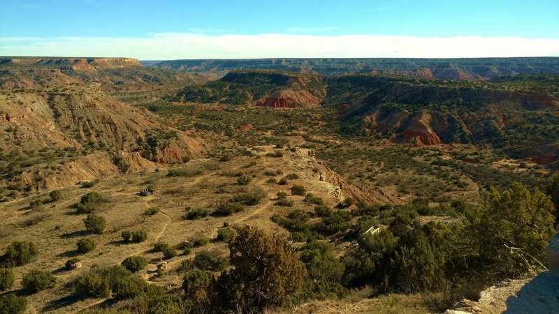 Palo Duro Canyon from the rim viewpoint on a sunny February day.