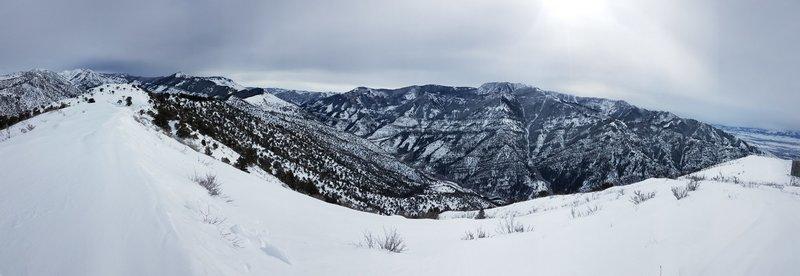Panorama into Logan Canyon from summit - Feb 2019