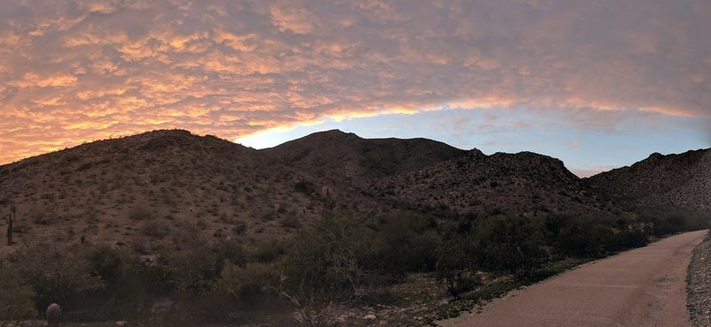 South end of the trail. Arizona evenings can't be beat. Don't let the paved trail fool you - 10-20% grades...coming within a half mile.