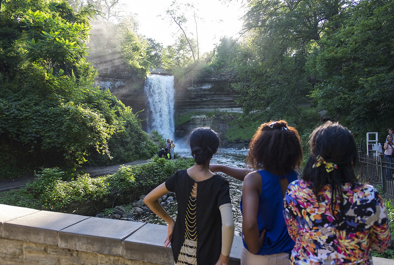 Taking in the sights at Minnehaha Falls