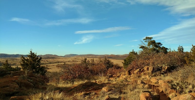 Overlooking the prairie and Wichita Mountains to the northwest on Elk Mountain Trail in February.