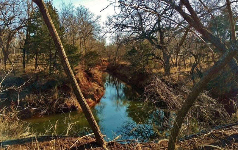 Spring Creek runs through the grassy woodlands of Martin Park Nature Center, a wonderful city park in Oklahoma City.