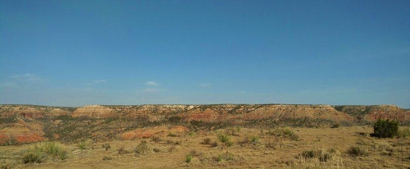 The canyon walls to the east, across the Prairie Dog Town Fork of the Red River, as seen from Triassic Trail.