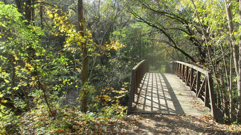 A bridge at Seven Mile County Park on a fall afternoon.