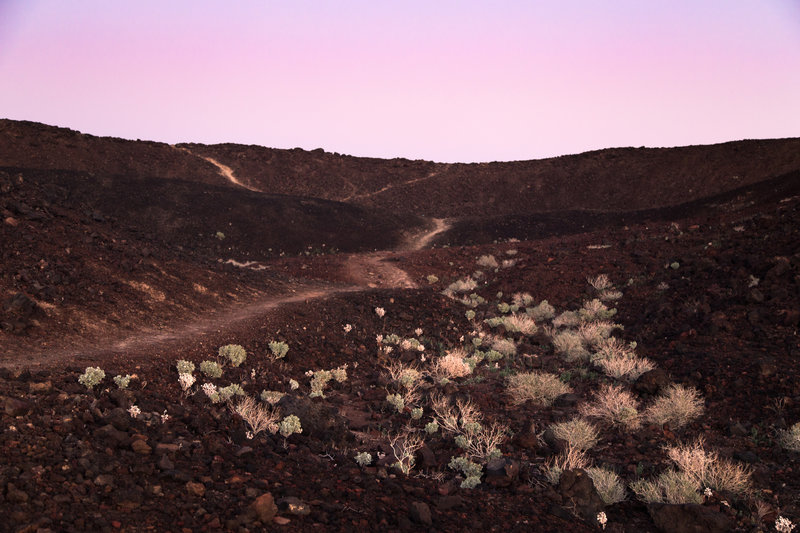 Amboy Crater as the sun sets.