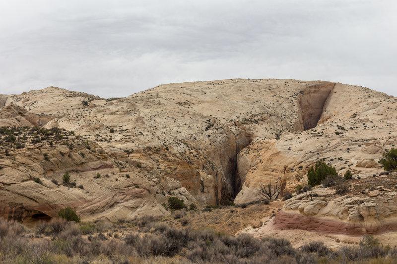 A small slot canyon feeding into Halls Creek Drainage.