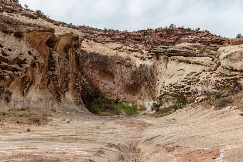 A small side canyon feeding into Lower Muley Twist Canyon.