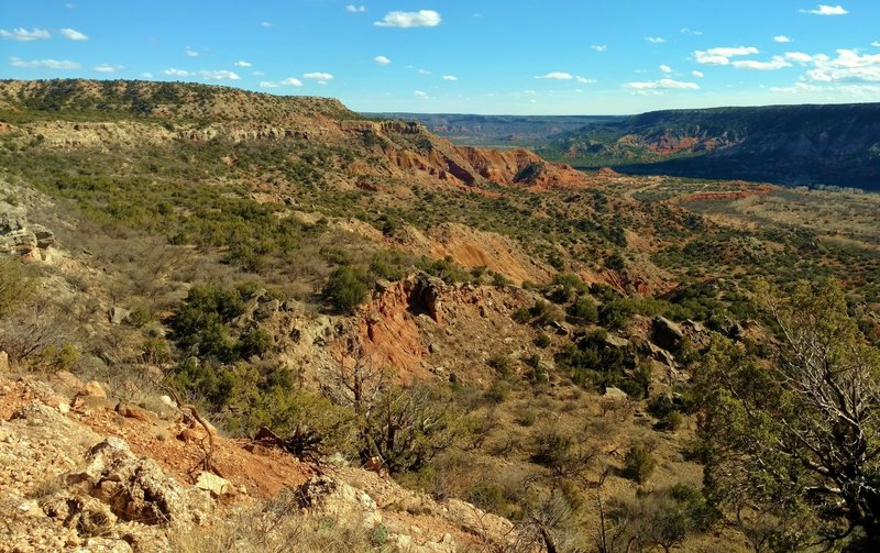 Palo Duro Canyon, looking southeast about halfway up Rock Garden Trail.
