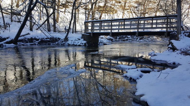 Icy Lower Bridge at Minneopa Falls.
