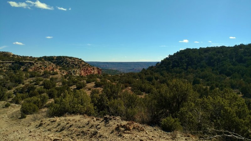 Palo Duro Canyon looking south-southeast from about halfway down into the Tub Springs Draw Valley.