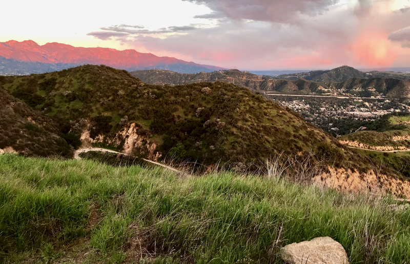 Views of the San Gabriels at sunset