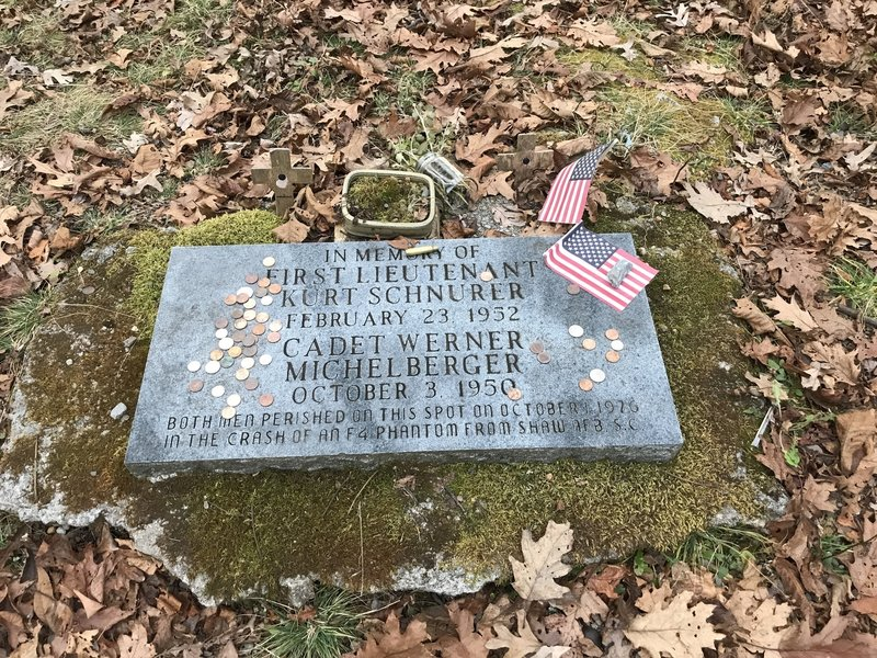 Memorial for two men killed when their F4 Phantom jet crashed on Holston Mountain in 1976.