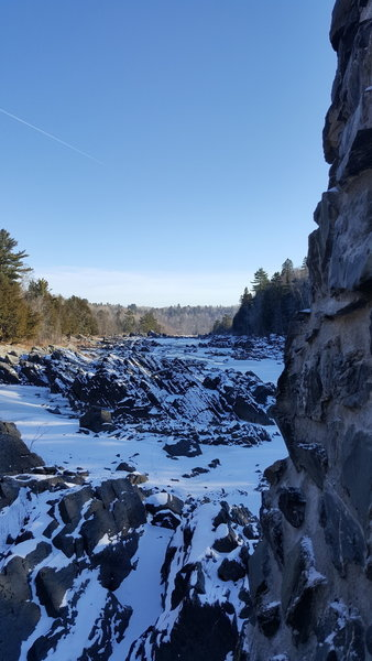A view of the frozen St. Louis River from Jay Cooke's swinging bridge