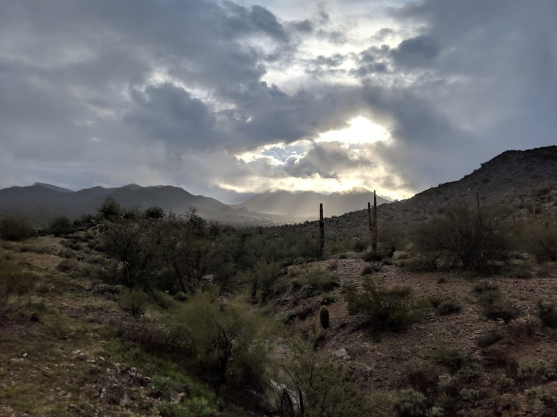 A pretty break in a winter storm, looking directly west of the trail towards San Tan Mountain. This wash is about 0.5 miles from the south end of the Dynamite Trail.