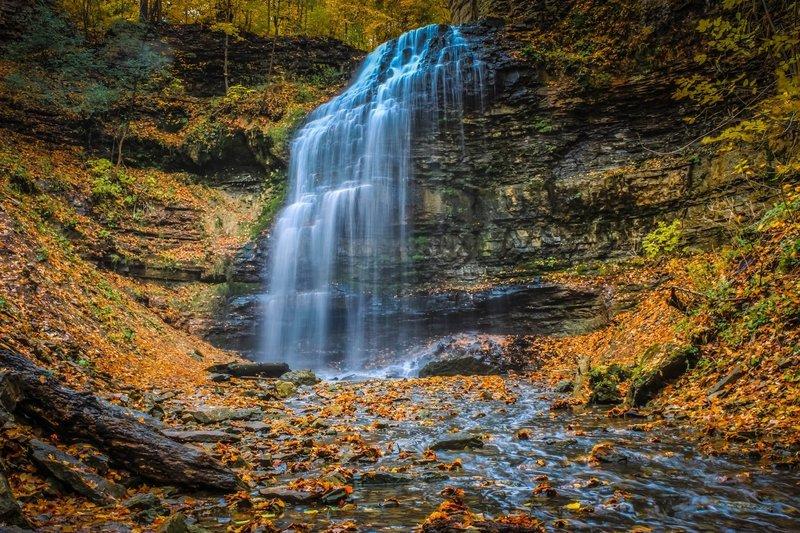 Tiffany Falls in the fall.