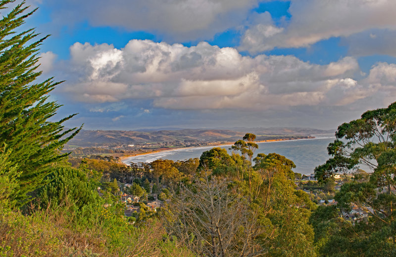 Half Moon Bay in evening sunlight from top of Almeria Trail.