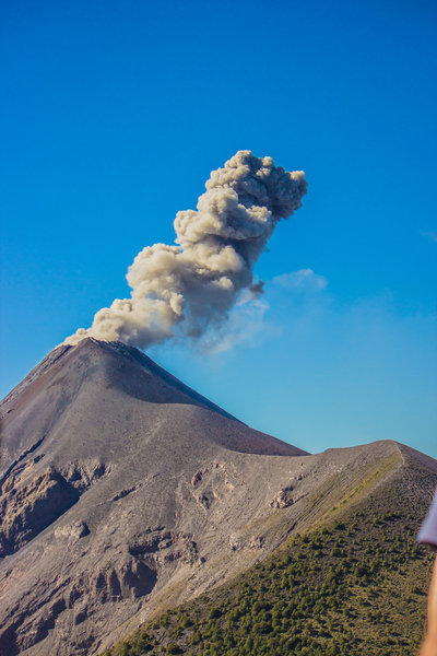 View of Volcán de Fuego from Las Terrazas on the SE slope of Acatenango