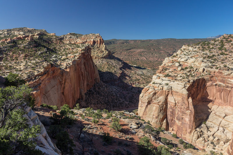 The mouth of Capitol Gorge from the Golden Throne Viewpoint