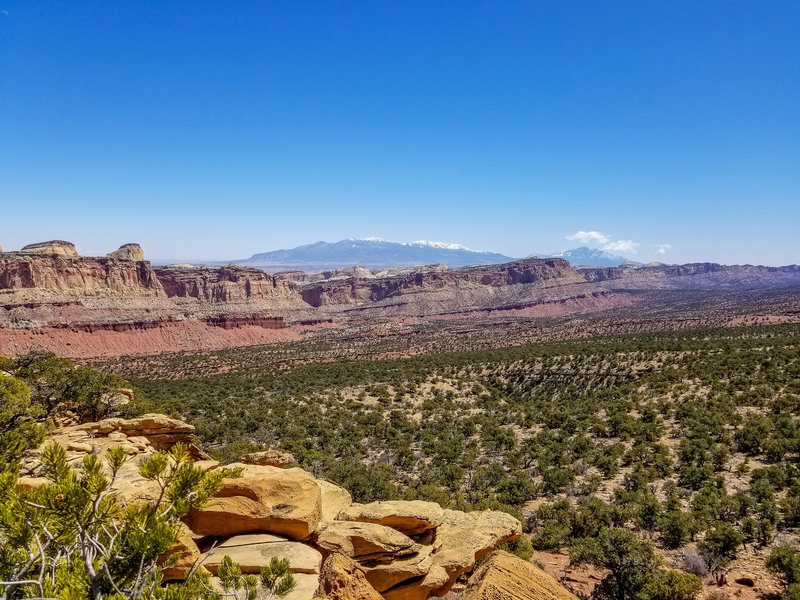 Waterpocket Fold south of Old Wagon Trail with the Henry Mountains in the background