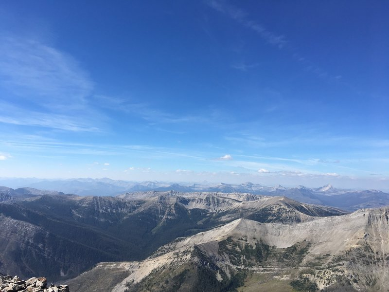 View from the summit of Mount Wright looking to the west into the Bob Marshall Wilderness.