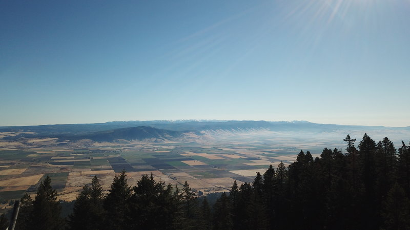 View east from Indian Rock to Grande Ronde Valley and the Wallowa Mountains