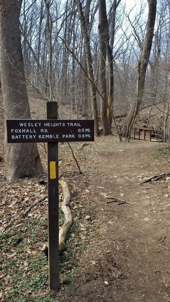 From Whitehaven Trail turnoff to Wesley Heights Trail to Battery Kimble