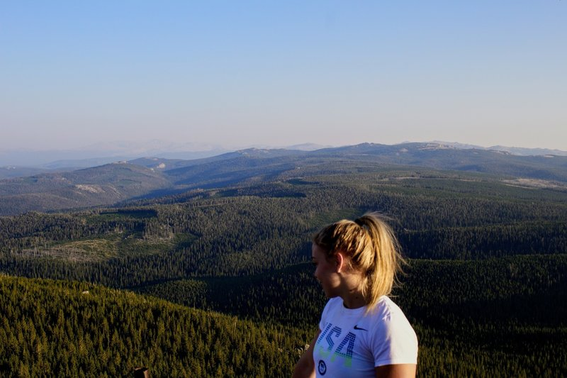 Looking South towards Granite Pass, Lookout Mountain, and a smokey Cloud Peak Wilderness.