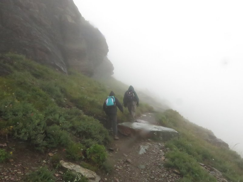 Hiking back, in a cloud, from Hidden Lake in Glacier National Park. Visibility at times was 15 feet. Early September, 2016.