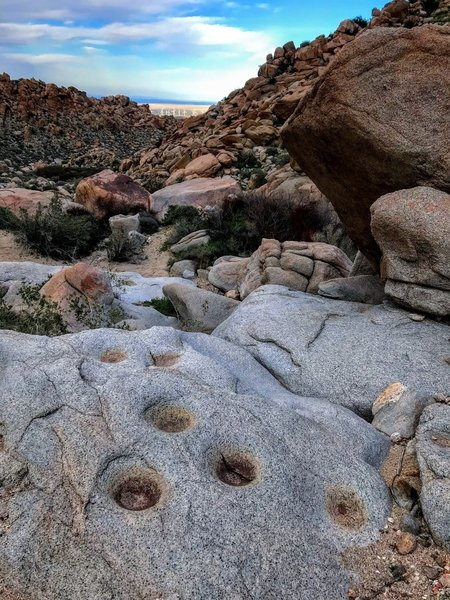 These are some of the 'morteros' or grindstones, you find along the trail