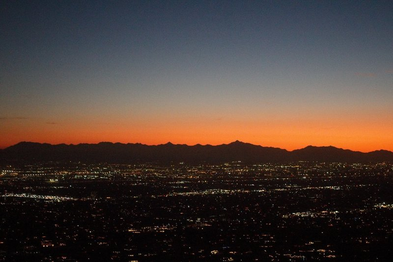 Sunset over Phoenix while descending Camelback