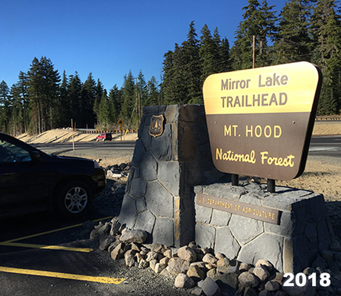 The newly relocated Mirror Lake Trailhead is on the west end of Mt. Hood Skibowl.  Photo by Knud Martin, Federal Lands Highway Division