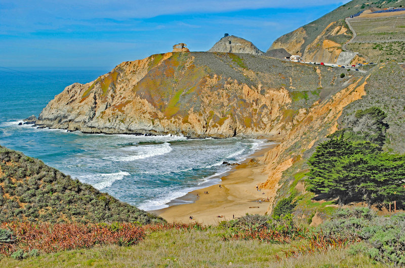 Grey Whale Cove and Look-Out Point from Highway 1.