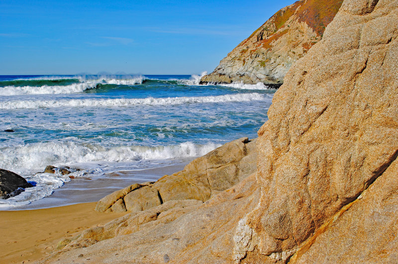 Grey Whale Cove, rocks and waves