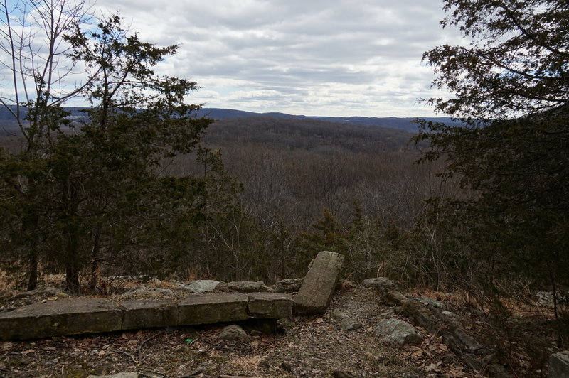 Cabin foundation and overlook. Comfortable lunch stop if you get there first!