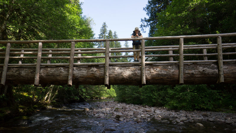 Julie on the Deer Creek bridge