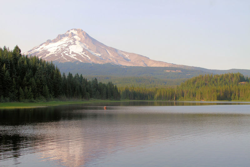 The view of Mt. Hood from Trillium Lake Loop Trail in summer.