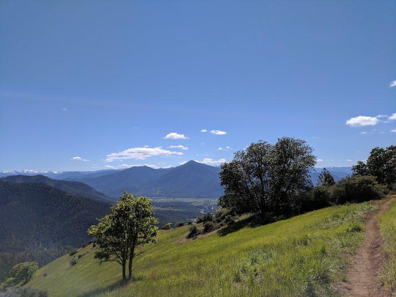 On ridge, facing west, trail still under development of spring '17.