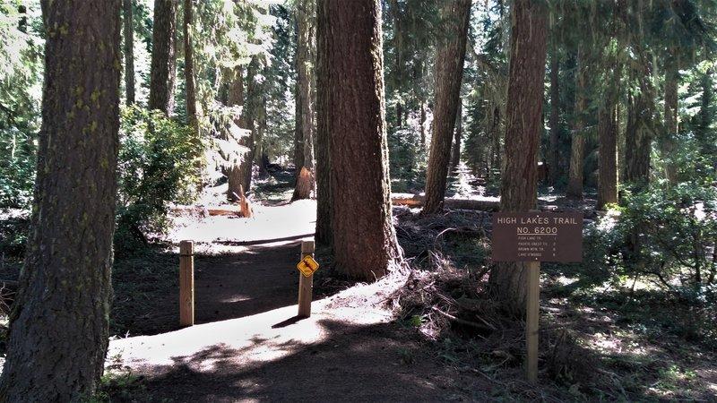 Beginning of High Lakes Trail at Fish Lake, OR.