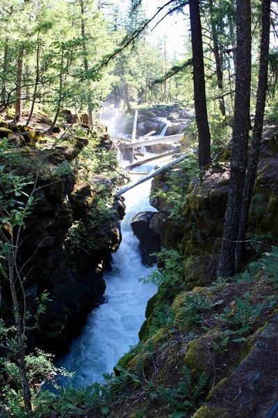 Rapids through river gorge