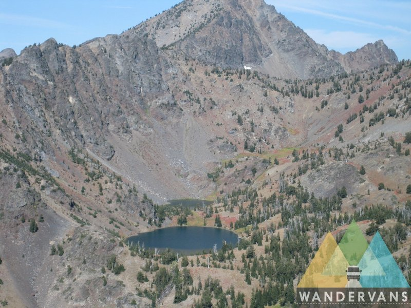 Looking down on the Twin Lakes from the Elk Horn Crest Trail