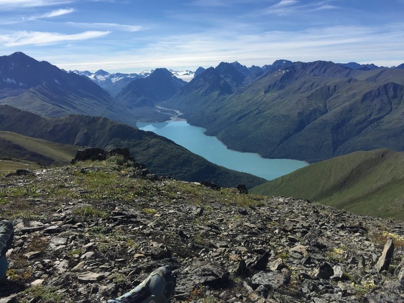Eklutna Lake and Glacier from the top of Salt Peak.