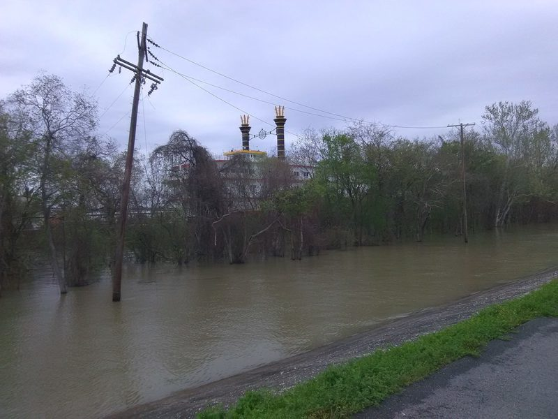 River is getting high on the Levee
